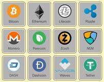 Crypto valuta Teckensamling av crypto valuta Arkivbild