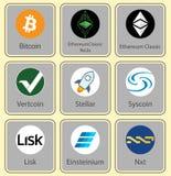 Crypto valuta Teckensamling av crypto valuta Royaltyfri Foto
