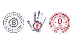 Crypto valutabeståndsdelsymbol Bitcoin rubber stämpel vektor illustrationer