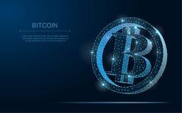 Crypto Veelhoekige 3D zvectorillustratie van muntbitcoin Blockchain royalty-vrije illustratie