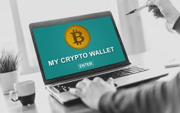 Crypto wallet concept on a laptop screen royalty free stock photos