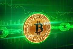 Crypto waluta Blokowy łańcuch Bitcoin gotówka 3D isometric Fizyczny złoty bitcoin z wireframe łańcuchem Blockchain royalty ilustracja