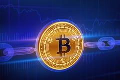 Crypto waluta Blokowy łańcuch Bitcoin gotówka 3D isometric Fizyczny złoty bitcoin z wireframe łańcuchem Blockchain pojęcie editab ilustracji