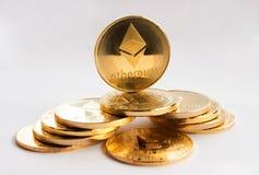 Crypto waluta na białym tle Fotografia Royalty Free