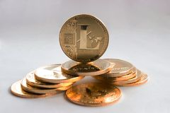 Crypto waluta na szarym tle Zdjęcia Royalty Free