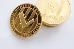 Crypto waluta na szarym tle Obrazy Stock