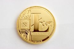 Crypto waluta na szarym tle - litecoins 7 Zdjęcia Royalty Free