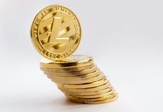 Crypto waluta na szarym tle - litecoins 2 Fotografia Stock