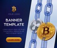Crypto waluta sztandaru szablon Bitcoin czochra 3D kawałka isometric Fizyczne monety Złoty bitcoin i srebne czochr monety ilustracji