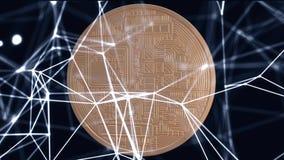 Crypto waluta Złocisty Bitcoin kawałek moneta - BTC - Makro- strzałów crypto waluta Bitcoin ukuwa nazwę wirować na tle zbiory wideo