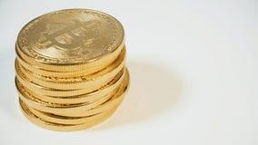 Crypto waluta Złocisty Bitcoins kawałek moneta - BTC - Makro- strzałów waluty Bitcoin crypto monety Fotografia Royalty Free