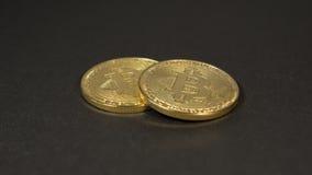 Crypto waluta Złocisty Bitcoins kawałek moneta - BTC - Makro- strzałów waluty Bitcoin crypto monety Obrazy Royalty Free