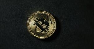 Crypto waluty Bitcoin moneta Makro- strzałów crypto waluta Bitcoin ukuwa nazwę wirować Frontowi widoki zbiory