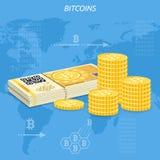Crypto waluty bitcoin monety i banknoty Obrazy Royalty Free