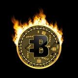 Crypto waluty bytecoin złoty symbol na ogieniu Obrazy Stock