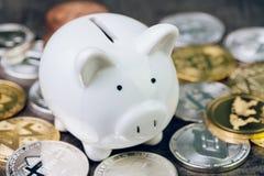 Crypto waluty inwestycja, biały prosiątko bank z różnorodnym błyszczący srebro i złote fizyczne cryptocurrencies symbolu monety, obraz stock