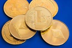 Crypto waluty litecoin ethereum i bitcoin Zdjęcie Royalty Free