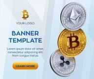 Crypto waluty sztandaru editable szablon Bitcoin, Ethereum, czochra 3D badania lekarskiego isometric monety Złota Bitcoin moneta ilustracji
