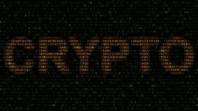 CRYPTO woord van hexadecimale symbolen op het computerscherm dat wordt gemaakt het 3d teruggeven Stock Foto's