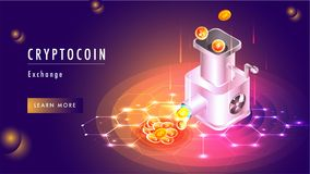 Cryptocoin exchange concept based web template design with illus Royalty Free Stock Photography