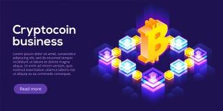Cryptocoin som bryter lantgårdorienteringen Cryptocurrency och blockchain förtjänar royaltyfri illustrationer