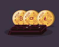 Cryptocurrency concept design. Cryptocoins and keyboard over black background, colorful design. vector illustration Stock Images