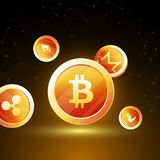 Cryptocpoins on brown background. Stock Image