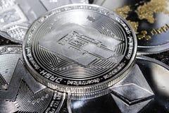 Cryptocurrencies波纹Ethereum Litecoin Monero破折号 库存照片