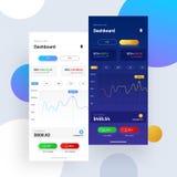 Cryptocurrencies που κάνουν εμπόριο, και ανταλλαγή UI ή έννοια UX για Mobi διανυσματική απεικόνιση