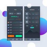 Cryptocurrencies που κάνουν εμπόριο, και ανταλλαγή UI ή έννοια UX για Mobi ελεύθερη απεικόνιση δικαιώματος
