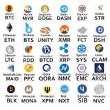 Cryptocurrencies 30个象 免版税图库摄影