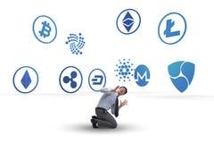 各种各样的cryptocurrencies和商人的概念 库存照片
