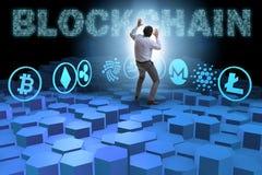 各种各样的cryptocurrencies和商人的概念 库存图片