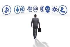 各种各样的cryptocurrencies和商人的概念 免版税库存照片