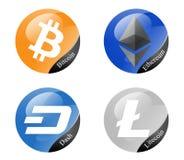 Cryptocurrencies. Bitcoin,Ethereum,Dash and Litecoin cryptocurrencies Stock Image