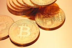 Cryptocurrencies Bitcoin golden Stock Images