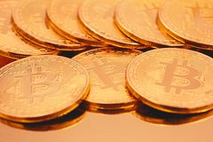 Cryptocurrencies Bitcoin golden stock image