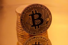 Cryptocurrencies Bitcoin golden royalty free stock images