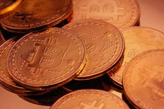 Cryptocurrencies Bitcoin golden stock photo