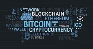 Cryptocurrencies, blockchain- och bitcoinetikettsmoln royaltyfri illustrationer