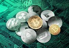 Cryptocurrencies et bitcoin d'or s'étendant sur le dessus illustration stock