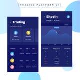 Cryptocurrencies handel, och utbyte UI eller UX begrepp för Mobi royaltyfri illustrationer