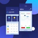 Cryptocurrencies handel, och utbyte UI eller UX begrepp för Mobi vektor illustrationer