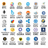 Cryptocurrencies 30 Ikonen Lizenzfreie Stockfotografie