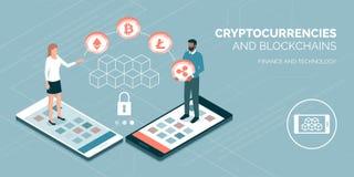 Cryptocurrencies och blockchain stock illustrationer