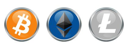 Cryptocurrencies signs. Bitcoin, Ethereum and Litecoin cryptocurrencies Royalty Free Stock Images