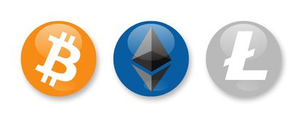 Cryptocurrencies signs. Bitcoin, Ethereum and Litecoin cryptocurrencies Royalty Free Stock Photos