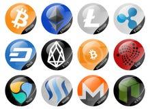 Cryptocurrencies signs. Bitcoin, Ethereum, Litecoin and other cryptocurrencies Stock Photos