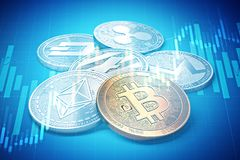 Cryptocurrencies success graphs with charts climbing up. Cryptocurrencies growth concept. 3D rendering Stock Images