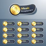 Cryptocurrencies tag, label or stickers. Cryptocurrencies tag, label or stickers on grey background Royalty Free Stock Image